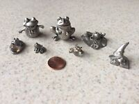 Lot of 7 Vintage Frog Pewter Miniature Figurines Boyd Perry Gallo SCM Comstock