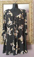 Topshop size 10 Floral Polka Dot Dress ♡keyhole front ties♡split back skater ♡