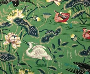 "SCHUMACHER LOTUS GARDEN JADE GREEN BIRD 100% LINEN DESIGNER FABRIC 2.3 YARD 54""W"