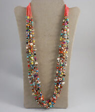 """30"""" CORAL & MULTI COLORED BEADS WITH MULTI STONES  5 STRAND NECKLACE"""