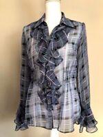 CAbi Medium Georgette Penelope Blouse Bell Sleeve Sheer Blue Plaid Ruffle #G37