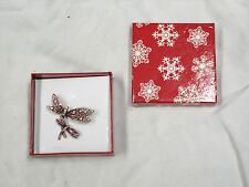 Dragonfly brooch with pink genuine crystal Double Dragonflies
