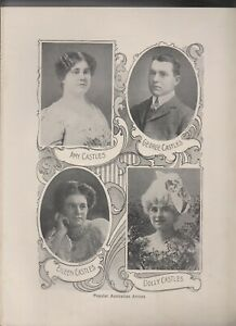 B & W PRINT circa 1910, POPULAR AUS ARTISTS AMY CASTLES, GEAROGE CASTLES & OTHER