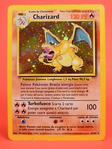 Pokemon TCG WOTC Card Italian Holo Rare Charizard Base Set Unlimited 4/102