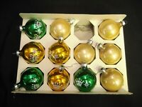 VINTAGE LOT OF 11 PALE GOLD YELLOW GREEN GLASS BALL XMAS ORNAMENTS SHABBY CHIC