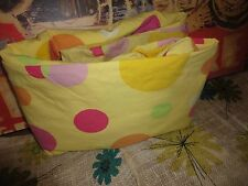THE COMPANY STORE YELLOW LILAC POLKA DOTS BUBBLES QUEEN FITTED SHEET 14""