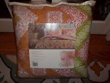 NIP Jessica Simpson Bali Chevron Orange/Pink/Green Full Queen Comforter Set 3pc