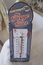 Nostalgie Thermometer Blechschild My Garage My Rules Retro Antiklook 29x11cm NEU