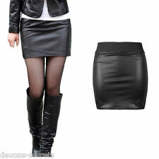 Femme Sexy en Cuir Simili PVC noir nouveau mini crayon jupe courte clubbing 8 10 SK3
