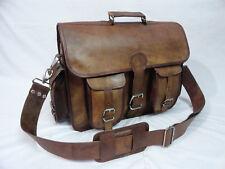 "Vintage Leather Office Briefcase Laptop Satchel Business Messenger Bag 16x12"""
