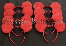 24 pcs Minnie Mickey Mouse Ears Headbands Shiny RED Birthday Party Costume DIY