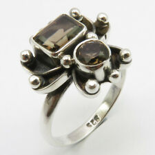 FREE SHIPPING Faceted SMOKY QUARTZ Ring Size 8 Art Jewelry Solid Sterling Silver