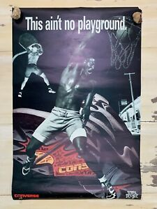 LARRY JOHNSON: Vtg Converse Tar Max Basketball This Ain't No Playground Poster