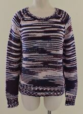 TRUE RELIGION Womens Sz XS Burgundy Navy Knit Chunky L/S Cotton Sweater EXC
