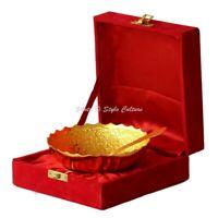 Decorative Round Brass Serving Centerpiece Bowl Set Gold Plated Elephant Motifs