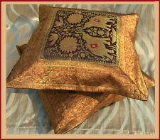 PAIR (TWO) OF SILK BROCADE PILLOW/CUSHION COVER BROWN COLOR FROM INDIA ! !