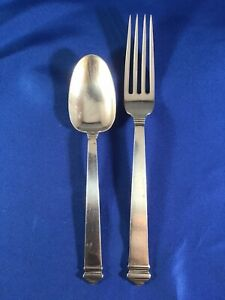 "Tiffany & Co Hampton 1934 Sterling Silver 6"" Spoon & 7"" Fork Set"