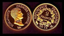 ★★ COPIE PLAQUE OR DE LA RARE 2 FRANCS AN 12 M TOULOUSE PREMIER CONSUL ★ FDC