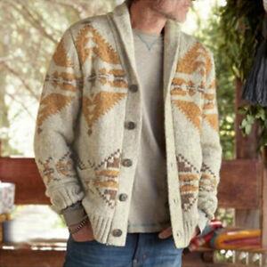 Mens Jacquard Sweater Knitted Cardigan Long Sleeve Coat Knitwear Outwear Top