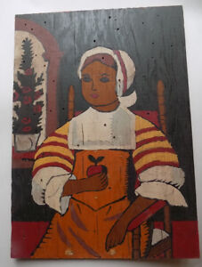 Lady with Prayer Cap Holding Apple Painting on Wood