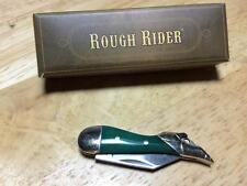 "Rough Rider Peacock Green Bone 2"" Tiny Leg Pocket Knife w/lanyard Loop RR1249"