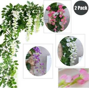 2× 7FT Artificial Wisteria Vine Garland Plants Flower Foliage home Outdoor decor