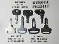 (7) Kubota Keys, Kubota Heavy Equipment, Tractor Ignition Key Set,  SHIPS FAST,