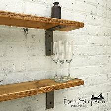 Rustic Shelf Industrial Handmade Shelves Metal Thin Solid Wood 22cm Depth TMB22