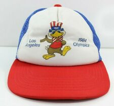 Vintage 80s 1984 Los Angeles Olympics Authentic Youth Eagle Trucker Mesh Hat Cap
