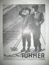 PUBLICITE DE PRESSE TUNMER EQUIPEMENT SKI NEIGE ILLUSTRATION VIGNEAU AD 1930