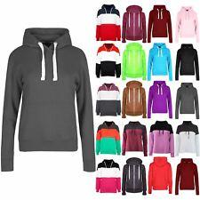 Ladies Womens Fleece Hoodie Cord Hood Side Pockets Top Jumper Sweatshirt 8-14