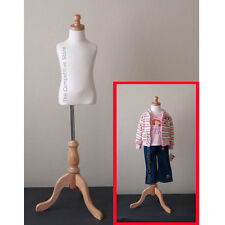 Kids 3-4 Years Cream Child Jersey Mannequin Dress Form With Natural Wooden Base