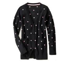GAP Kids GLAMOUR GIRL Pink Hearts Black V-neck Cardigan Sweater XS 4 5 NWT $35