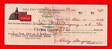 1952 Coca Cola Tell City Ind Old Bottling Co Check #59