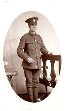 Postcard WW1 Unknown Regiment Soldier Swagger Stick British Army RPPC 23