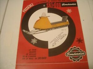 1963 Vintage BOMBARDIER SKI DOO Snowmobile Brochure FRENCH Valcourt