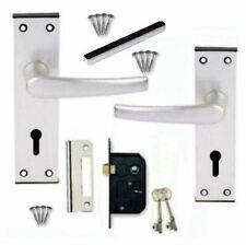 Door Handle SET Keyed Pack +2 Lever Sash Lock +2 Keys (KA) Black Trim Aluminium