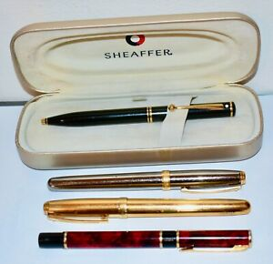 Estate Lot 4 Sheaffer Waterman Gold Gunmetal & Red Marbled Fountain Ball Pt Pens