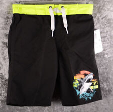 Kids OLD NAVY Boys Swim Suit Trunks Black Neon Yellow SHARKS M 6 7 8 UPF 50 ~NEW