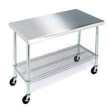 """Stainless Steel Top Work Table Kitchen Restaurant Prep NSF Casters 24"""" x 49"""""""