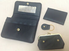 Orvis Leather Wallet / Clutch Womens Black Multi Purpose With Extras