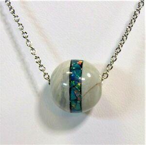 Natural Australian Opal Bead W/ Inlaid Mosaic Opal on a 20 In. Chain #2