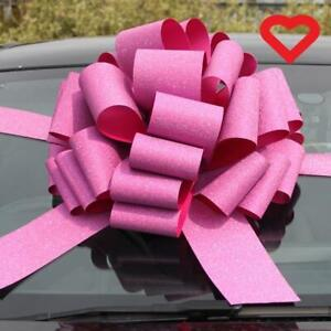 "Pink Glitter Giant Bow 12"" (30cms) Pull & 3 Metres Ribbon Birthdays Weddings"