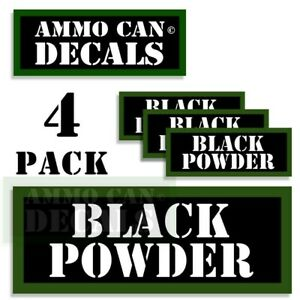 """BLACK POWDER Ammo Can Decals Ammunition Ammo Can Labels 3""""x1.15"""" Vinyl 4-pack"""