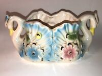 Vintage Swan Planter Dish Japan Flowers Very Nice Size! See pics, make offer!