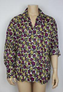 Mens Vtg 70s Style Disco Prince Crazy Dagger Collar Shirt Abstract Festival XL