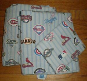 Pottery Barn Teen MLB Baseball 3pc Twin Sheet Set 1 Flat 1 Fitted 1 Case Cotton