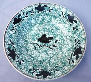 GIEN French Hand Painted Marbled Faience Silhouette Sparrow Cherry Dish 1878