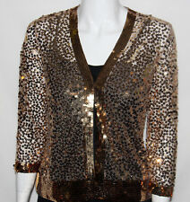 NEW twiggy LONDON SIZE SMALL GOLD Sequin 3/4 Sleeve Cardigan