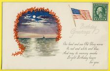 cpa POST CARD BIRTHDAY Séries Made in USA 1918 Illustrateur POWELL FLAG AMERICAN